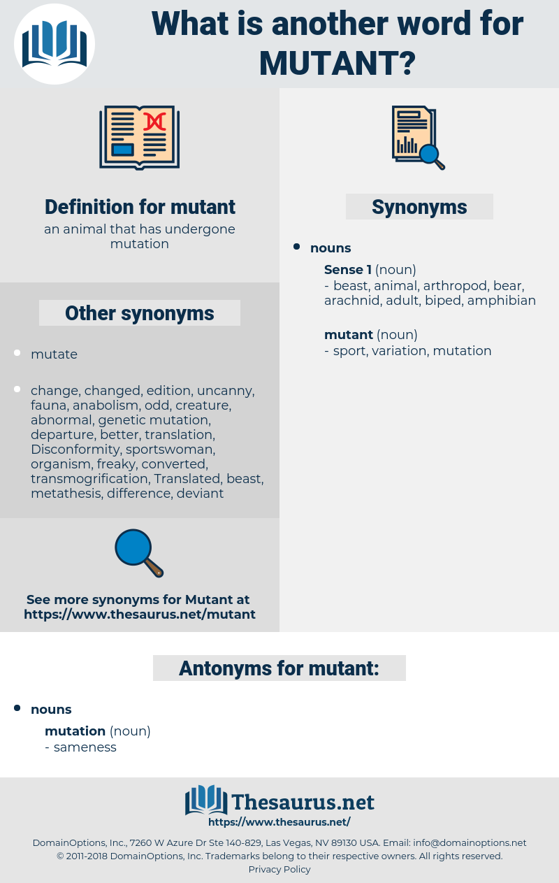 mutant, synonym mutant, another word for mutant, words like mutant, thesaurus mutant