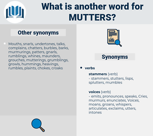 mutters, synonym mutters, another word for mutters, words like mutters, thesaurus mutters