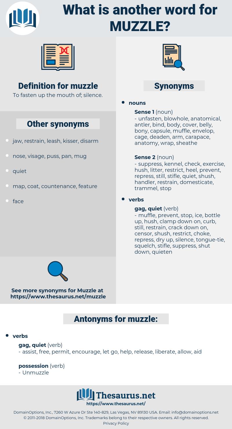 muzzle, synonym muzzle, another word for muzzle, words like muzzle, thesaurus muzzle