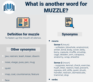 muzzle, synonym muzzle, another word for muzzle, words like muzzle, thesaurus muzzle