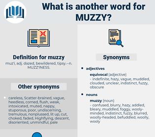 muzzy, synonym muzzy, another word for muzzy, words like muzzy, thesaurus muzzy