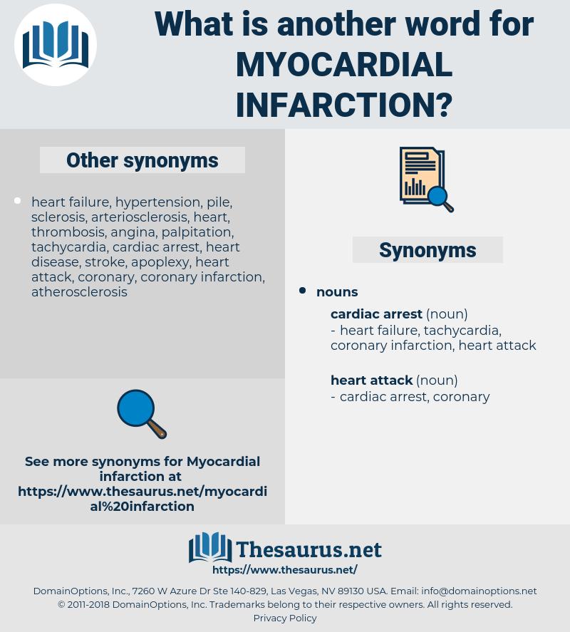myocardial infarction, synonym myocardial infarction, another word for myocardial infarction, words like myocardial infarction, thesaurus myocardial infarction