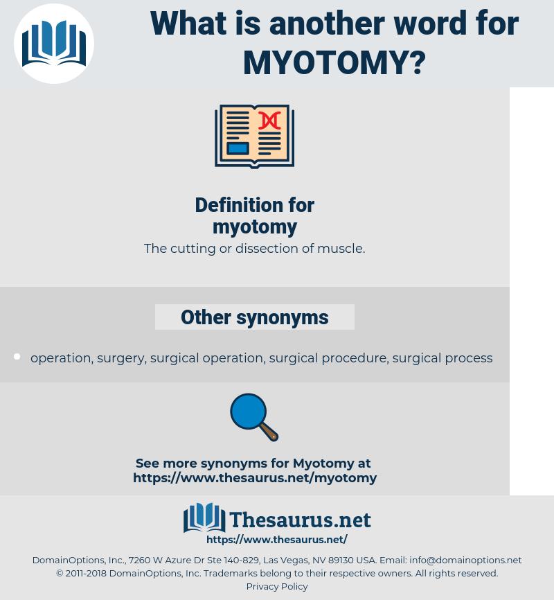 myotomy, synonym myotomy, another word for myotomy, words like myotomy, thesaurus myotomy