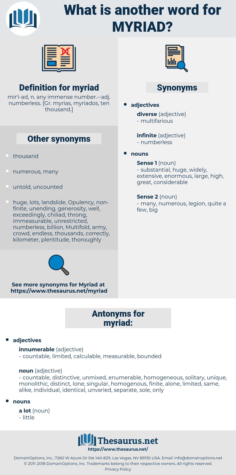 myriad, synonym myriad, another word for myriad, words like myriad, thesaurus myriad