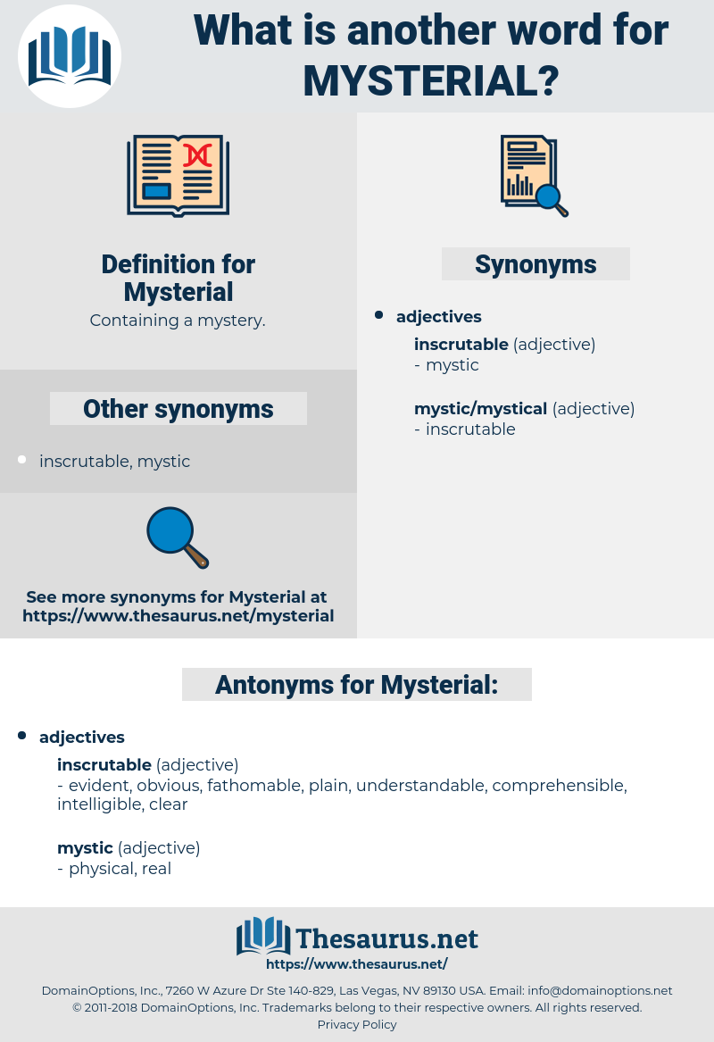 Mysterial, synonym Mysterial, another word for Mysterial, words like Mysterial, thesaurus Mysterial