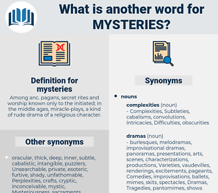 mysteries, synonym mysteries, another word for mysteries, words like mysteries, thesaurus mysteries