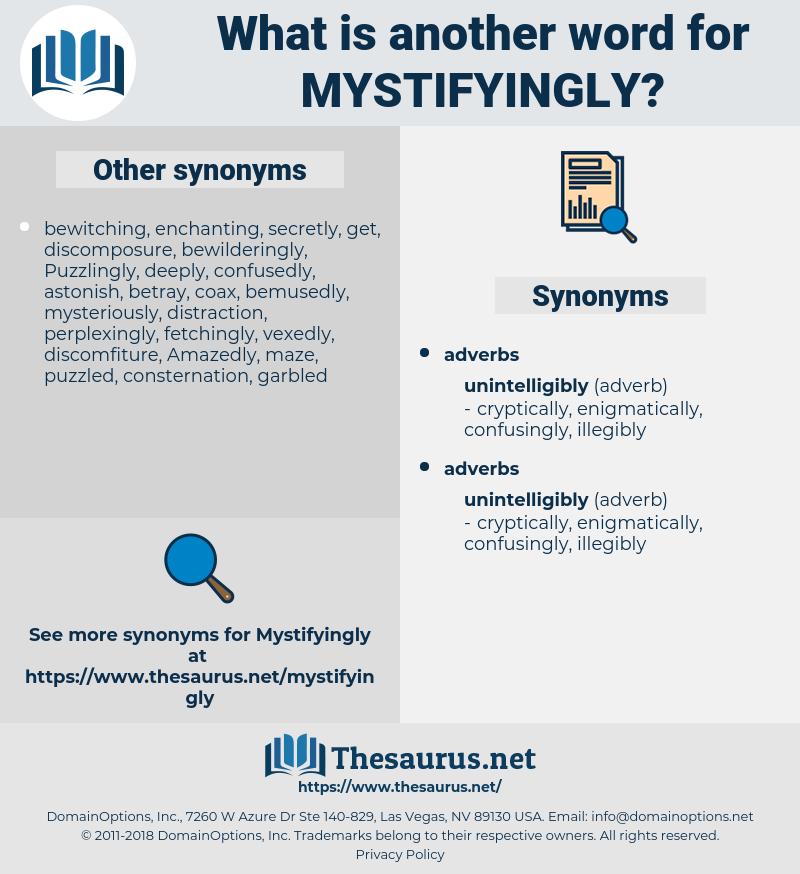 mystifyingly, synonym mystifyingly, another word for mystifyingly, words like mystifyingly, thesaurus mystifyingly