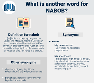 nabob, synonym nabob, another word for nabob, words like nabob, thesaurus nabob