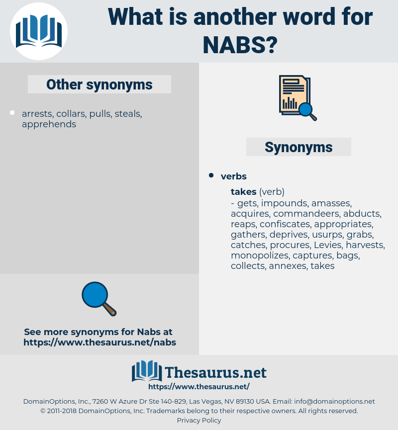 nabs, synonym nabs, another word for nabs, words like nabs, thesaurus nabs
