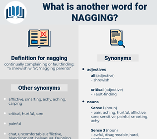 nagging, synonym nagging, another word for nagging, words like nagging, thesaurus nagging