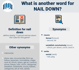 nail down, synonym nail down, another word for nail down, words like nail down, thesaurus nail down
