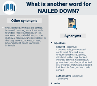 nailed down, synonym nailed down, another word for nailed down, words like nailed down, thesaurus nailed down