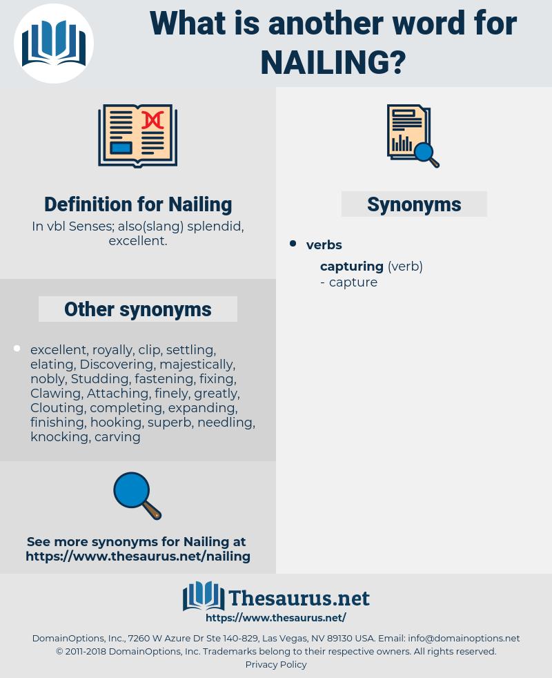 Nailing, synonym Nailing, another word for Nailing, words like Nailing, thesaurus Nailing