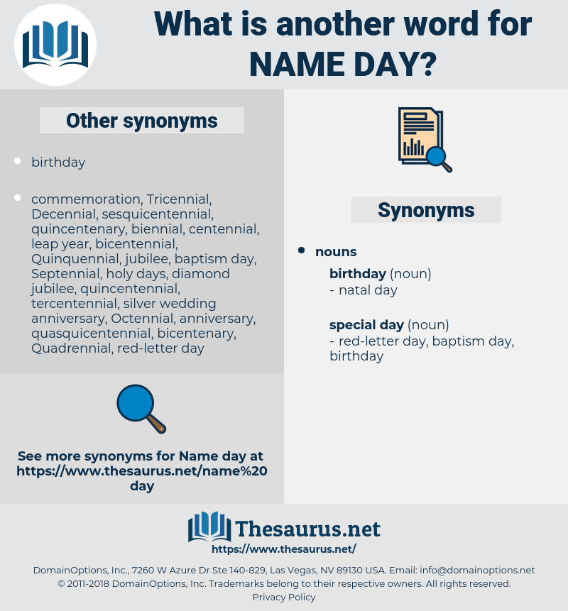 name day, synonym name day, another word for name day, words like name day, thesaurus name day