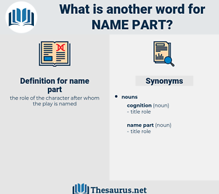 name part, synonym name part, another word for name part, words like name part, thesaurus name part