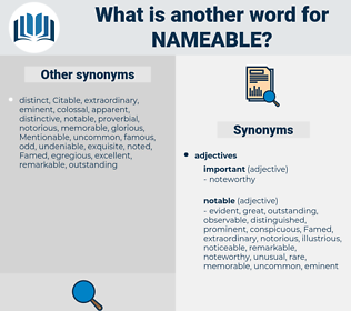 nameable, synonym nameable, another word for nameable, words like nameable, thesaurus nameable