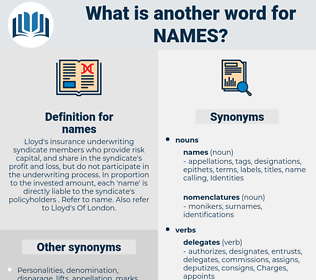names, synonym names, another word for names, words like names, thesaurus names