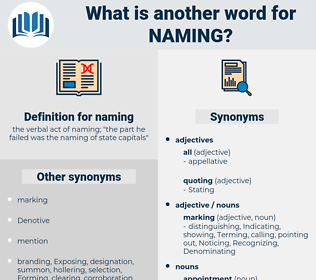 naming, synonym naming, another word for naming, words like naming, thesaurus naming