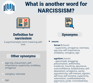narcissism, synonym narcissism, another word for narcissism, words like narcissism, thesaurus narcissism