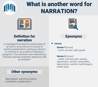 narration, synonym narration, another word for narration, words like narration, thesaurus narration
