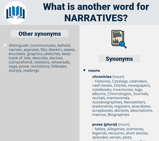 narratives, synonym narratives, another word for narratives, words like narratives, thesaurus narratives