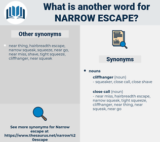 narrow escape, synonym narrow escape, another word for narrow escape, words like narrow escape, thesaurus narrow escape