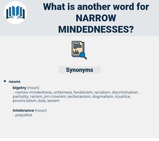 narrow mindednesses, synonym narrow mindednesses, another word for narrow mindednesses, words like narrow mindednesses, thesaurus narrow mindednesses