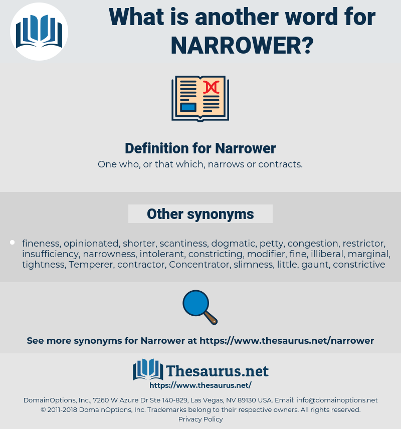 Narrower, synonym Narrower, another word for Narrower, words like Narrower, thesaurus Narrower