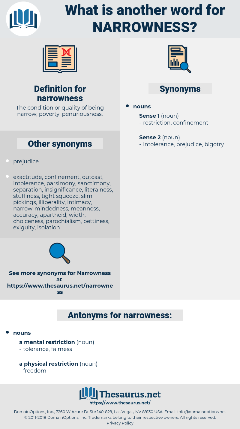 narrowness, synonym narrowness, another word for narrowness, words like narrowness, thesaurus narrowness