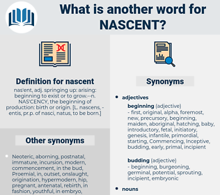nascent, synonym nascent, another word for nascent, words like nascent, thesaurus nascent