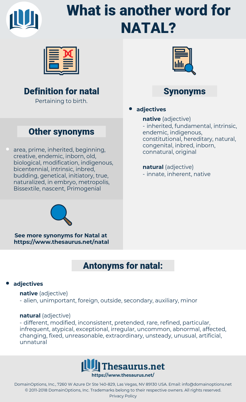 natal, synonym natal, another word for natal, words like natal, thesaurus natal