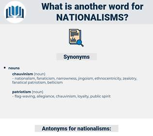 nationalisms, synonym nationalisms, another word for nationalisms, words like nationalisms, thesaurus nationalisms