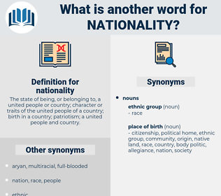 nationality, synonym nationality, another word for nationality, words like nationality, thesaurus nationality