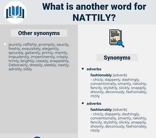 nattily, synonym nattily, another word for nattily, words like nattily, thesaurus nattily