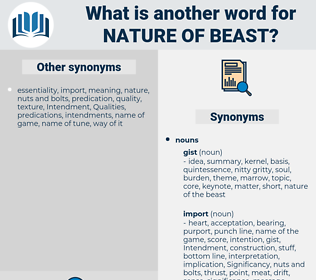 nature of beast, synonym nature of beast, another word for nature of beast, words like nature of beast, thesaurus nature of beast