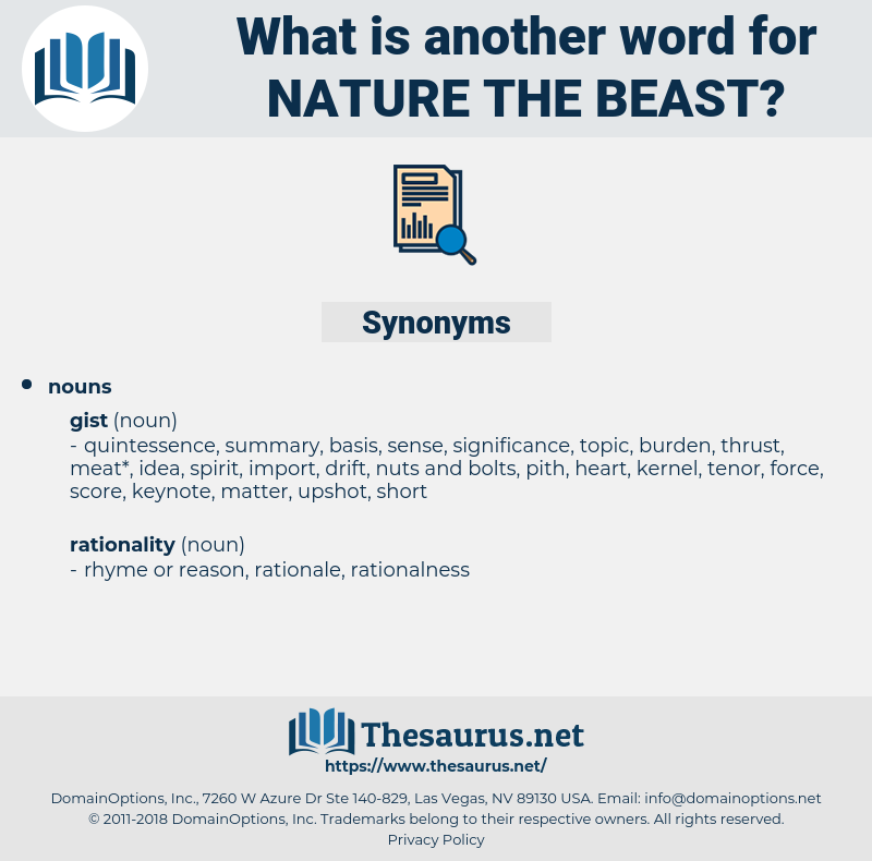 nature the beast, synonym nature the beast, another word for nature the beast, words like nature the beast, thesaurus nature the beast