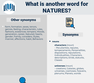 natures, synonym natures, another word for natures, words like natures, thesaurus natures
