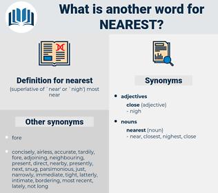 nearest, synonym nearest, another word for nearest, words like nearest, thesaurus nearest