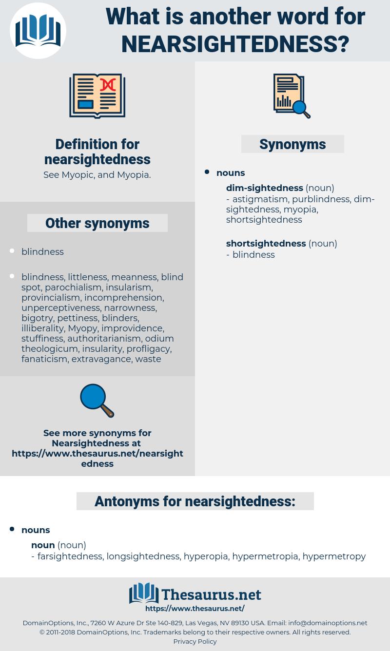 nearsightedness, synonym nearsightedness, another word for nearsightedness, words like nearsightedness, thesaurus nearsightedness