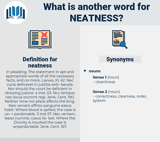 neatness, synonym neatness, another word for neatness, words like neatness, thesaurus neatness