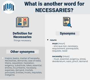 Necessaries, synonym Necessaries, another word for Necessaries, words like Necessaries, thesaurus Necessaries
