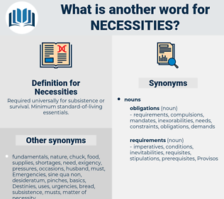 Necessities, synonym Necessities, another word for Necessities, words like Necessities, thesaurus Necessities