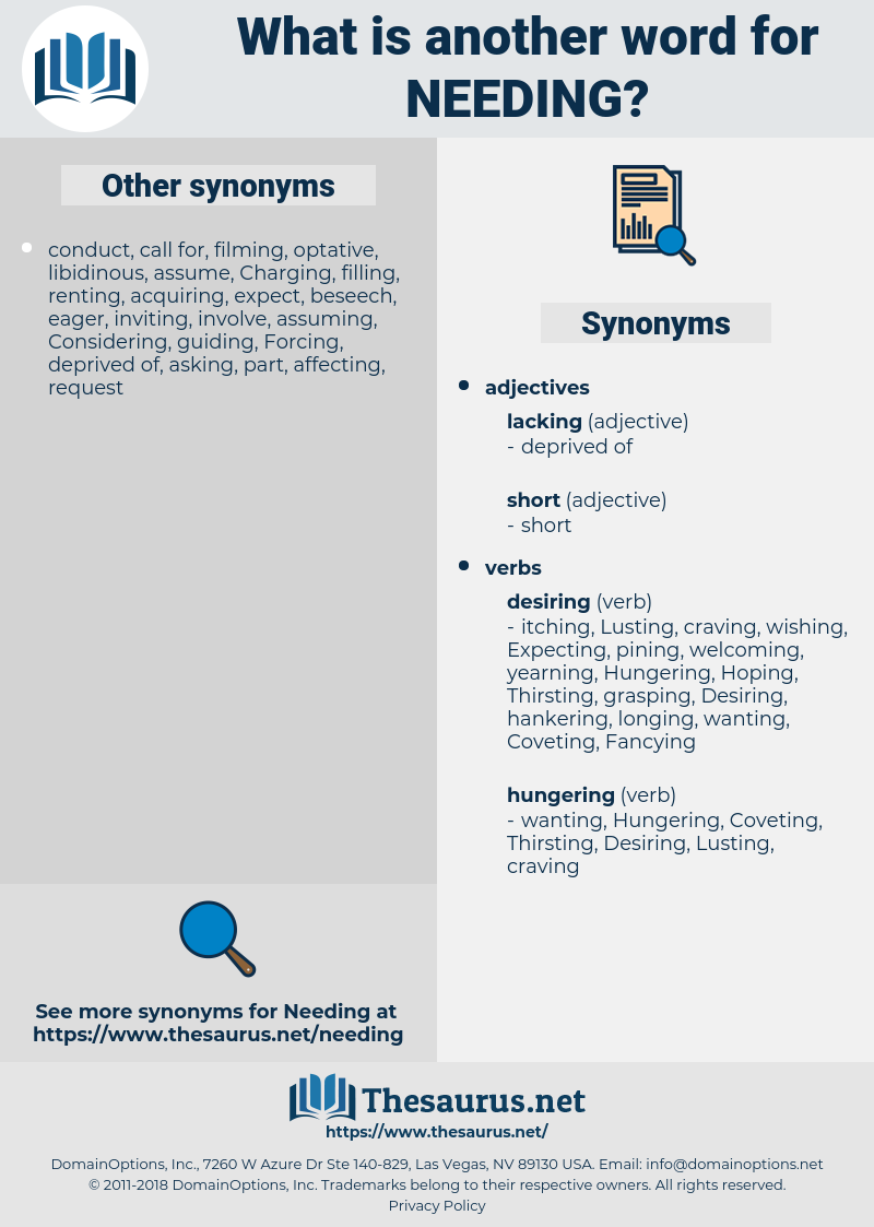 Needing, synonym Needing, another word for Needing, words like Needing, thesaurus Needing