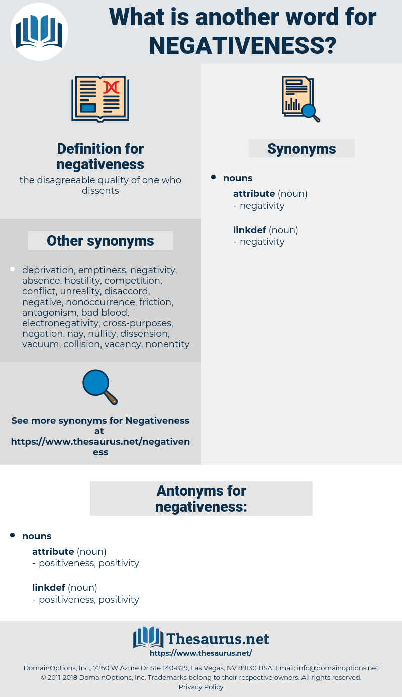 Synonyms for NEGATIVENESS   Thesaurus.net