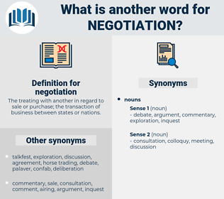 negotiation, synonym negotiation, another word for negotiation, words like negotiation, thesaurus negotiation