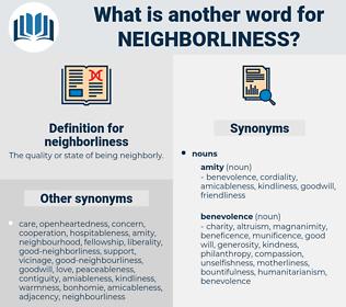 neighborliness, synonym neighborliness, another word for neighborliness, words like neighborliness, thesaurus neighborliness