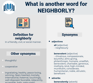neighborly, synonym neighborly, another word for neighborly, words like neighborly, thesaurus neighborly