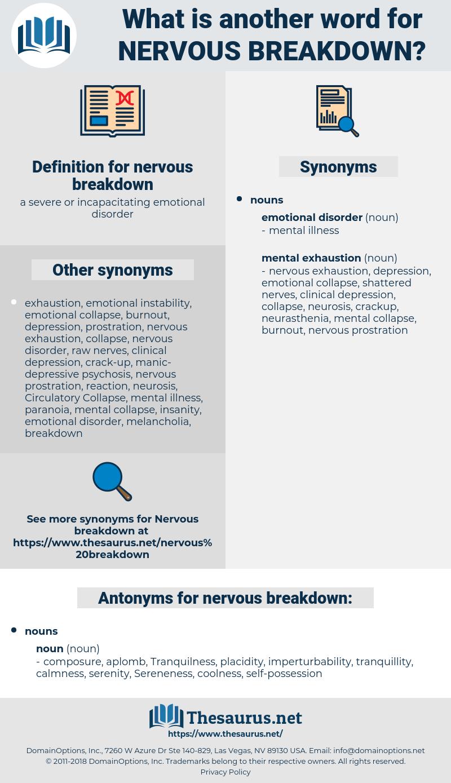 nervous breakdown, synonym nervous breakdown, another word for nervous breakdown, words like nervous breakdown, thesaurus nervous breakdown
