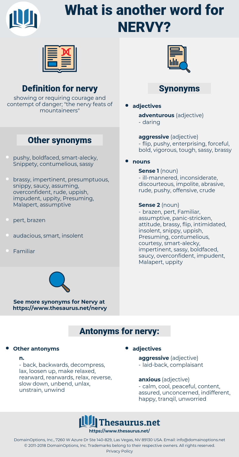 nervy, synonym nervy, another word for nervy, words like nervy, thesaurus nervy