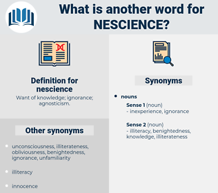 nescience, synonym nescience, another word for nescience, words like nescience, thesaurus nescience